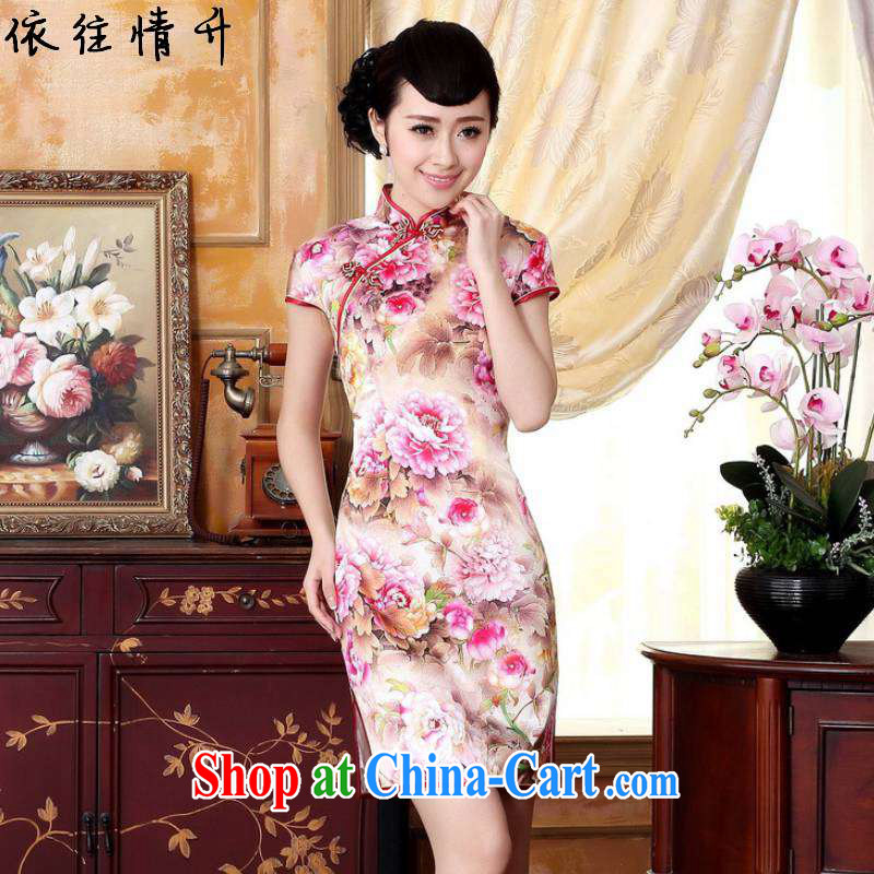 According to the conditions in summer and stylish new ladies retro Ethnic Wind improved tang on the collar-tie cultivating short-sleeved Chinese cheongsam dress LGD_Z 0022 figure 2 XL