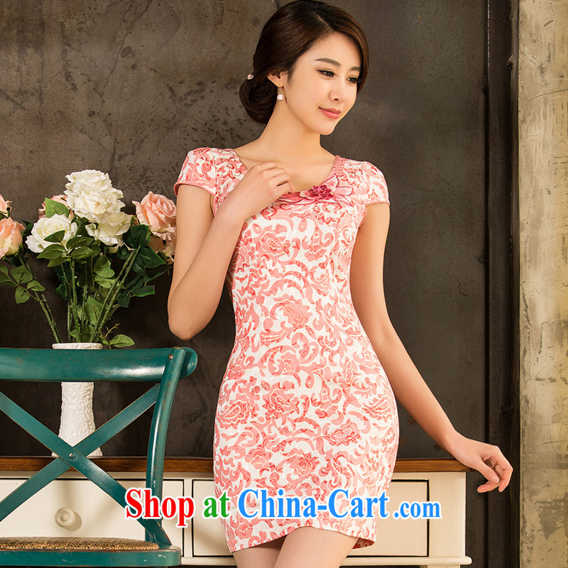 Sir David WILSON, cheongsam dress 2015 new spring and summer with stylish and improved cultivation video thin floral short girls retro dress Chinese Dress pink flower XXXL