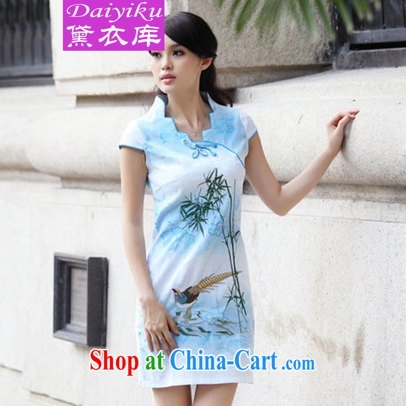 Diane Yi Library 2015 New Female with short-sleeved retro cheongsam dress summer-style clothing and blue XL