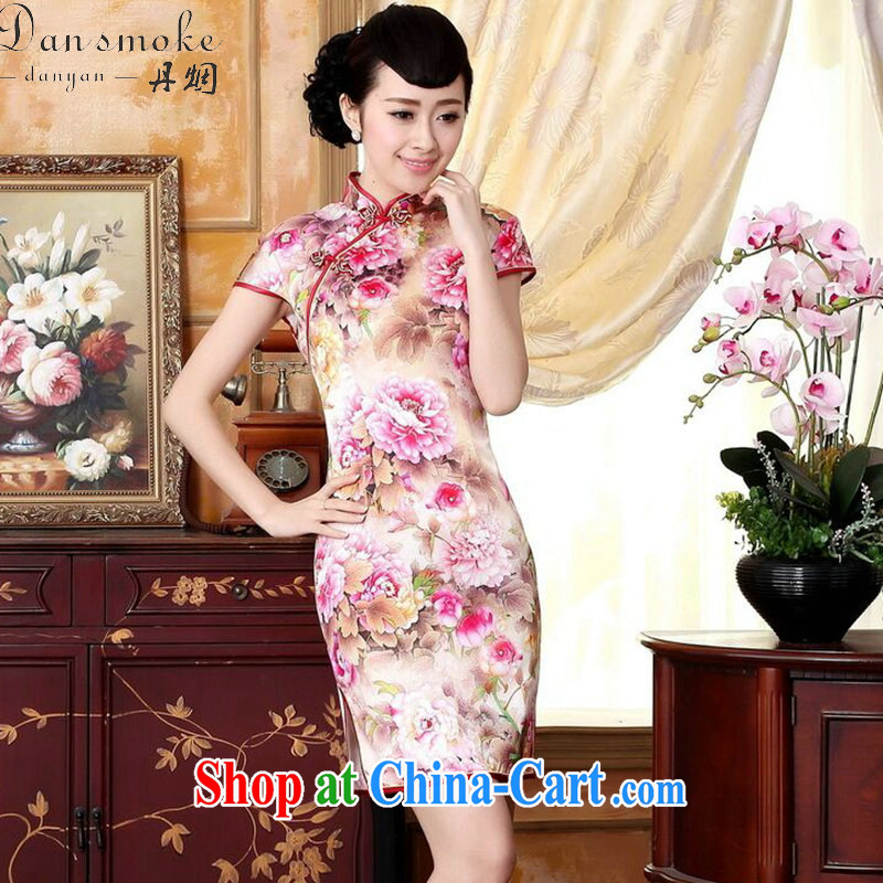 Dan smoke new summer dresses the color day pure incense, the flower painting stretch Satin sauna silk dinner short cheongsam Wan-Kennedy Peony 2 XL