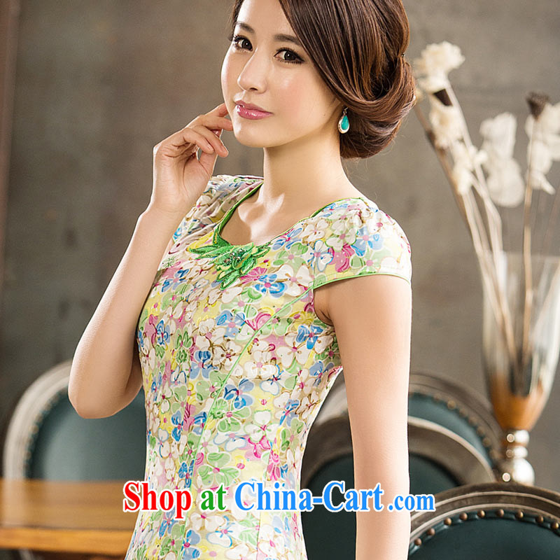 David WILSON, cheongsam dress improved stylish 2015 summer spring floral embroidery short girls daily beauty dresses floral green XXXL