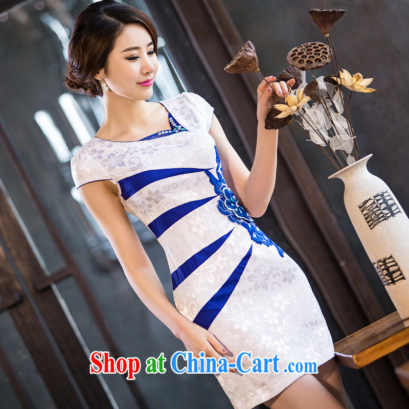 David WILSON, cheongsam dress 2015 new summer beauty and stylish graphics thin short antique Chinese daily improved female Ki robe embroidered waist-line white XXXL