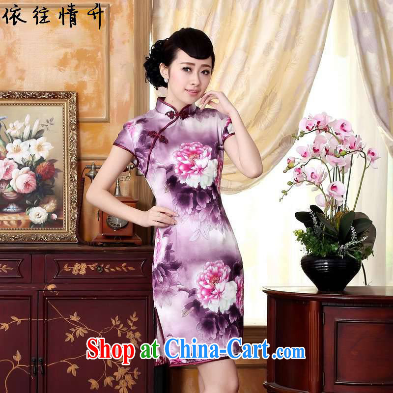 In accordance with the conditions in summer and stylish new retro improved autumn colors Peony silk poster positioning take short, cultivating cheongsam dress LGD_Z _0023 figure 2 XL
