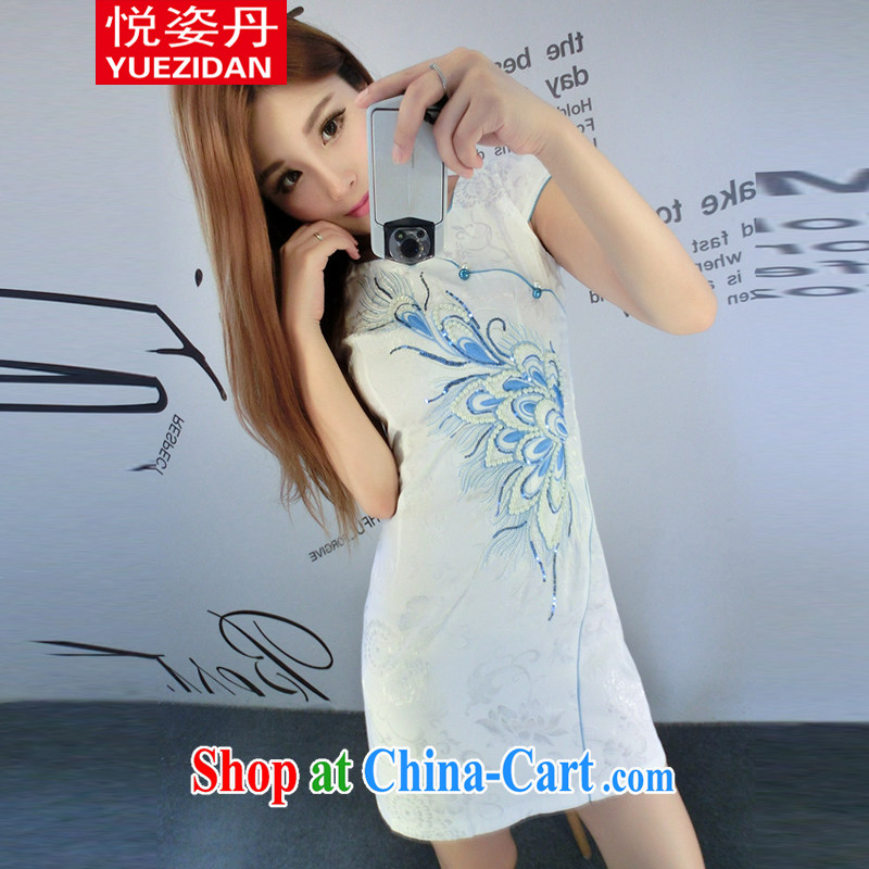Yue Chi Dan 2015 China wind improved cheongsam stylish flowers stamp embroidery blue and white porcelain retro package and dresses white XL