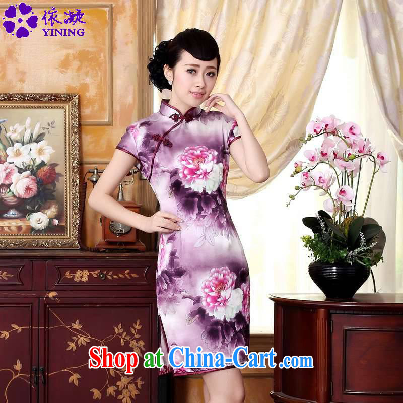 According to fuser summer stylish new ladies retro ethnic wind Tang replace the need for hard-pressed the poster cultivating short-sleeved Chinese cheongsam dress LGD_Z _0023爁igure 2 XL