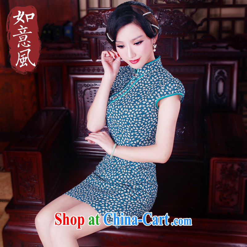 ruyi, 2015 New Spring Summer cultivating cheongsam dress improved stylish short linen dresses 5017 new 5017 fancy XXL