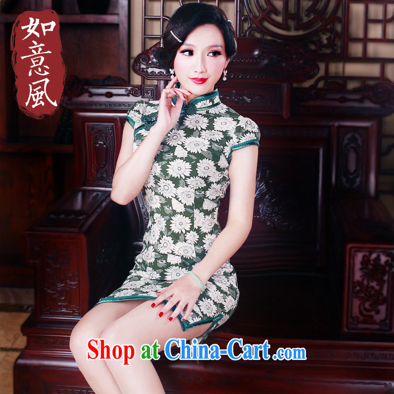 Sporting high-end cotton the cheongsam dress short and stylish everyday improved retro cheongsam dress 5092 new 5092 fancy XXL