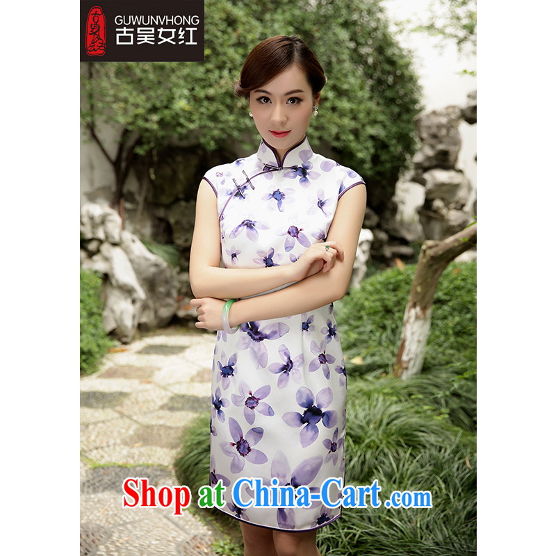 Mr. Wu female Red 2015 summer New Beauty really silk stamp-'s robes, for short, fancy XXL