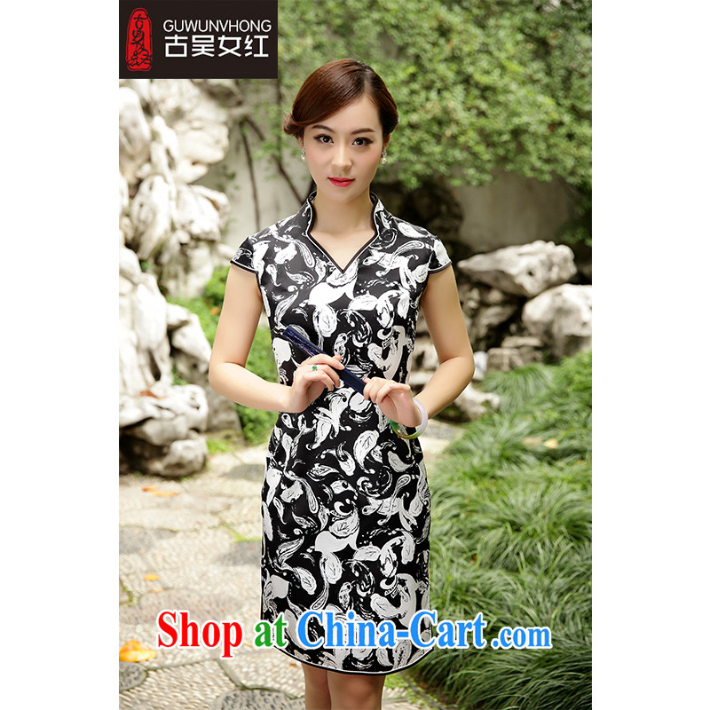 Mr. Wu female Red 2015 summer load new stamp duty cheongsam short燲XL suit