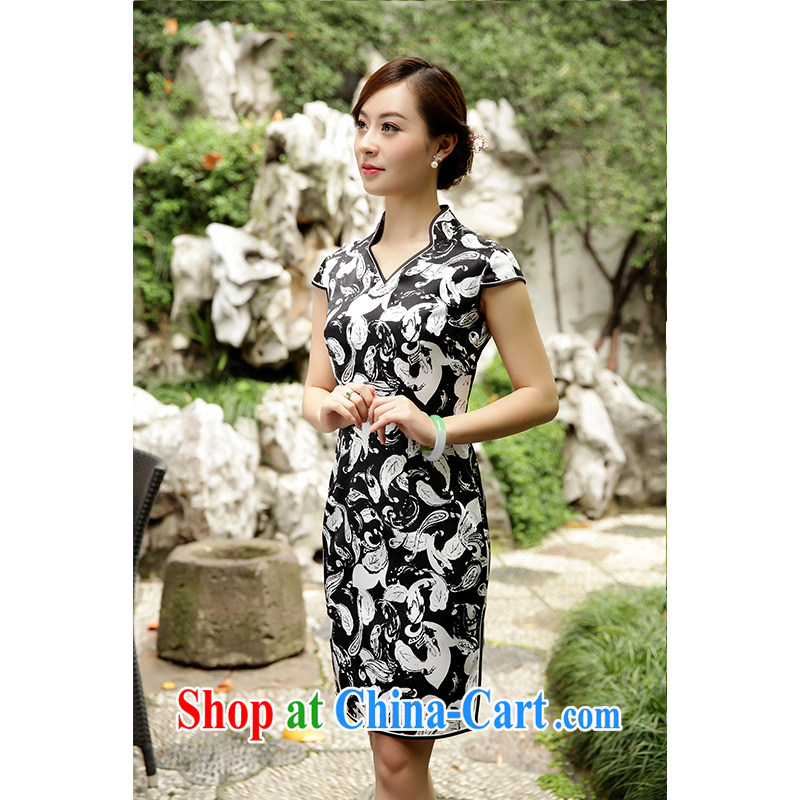 Old Wu female Red 2015 summer new stamp cheongsam short聽XXL suit, old Wu female Red, shopping on the Internet