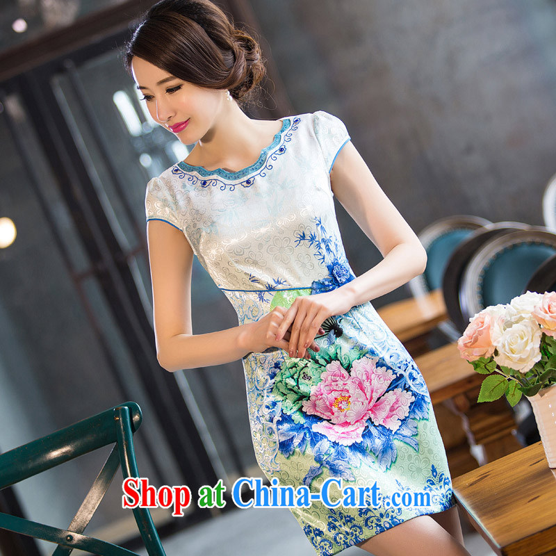 Sir David WILSON, cheongsam dress improved stylish 2015 new summer lady beauty short retro Peony stamp sincerely robe green XXXL
