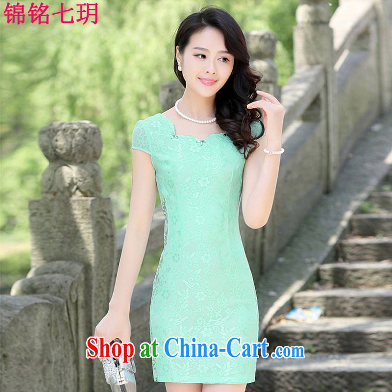 Kam Ming Yin Yue 7 summer 2015 new minimalist retro beauty graphics thin solid-colored lace cheongsam dress green XL