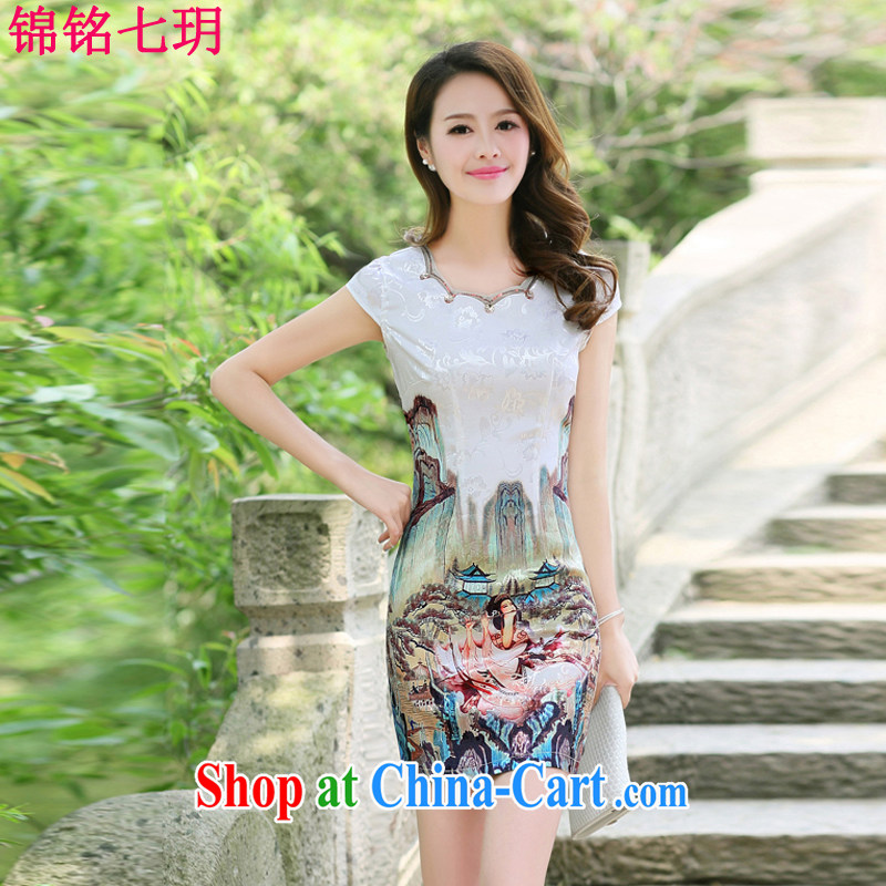 Kam Ming Yin Yue 7 summer 2015 new minimalist retro beauty stamp cheongsam dress gold beauty figure XL