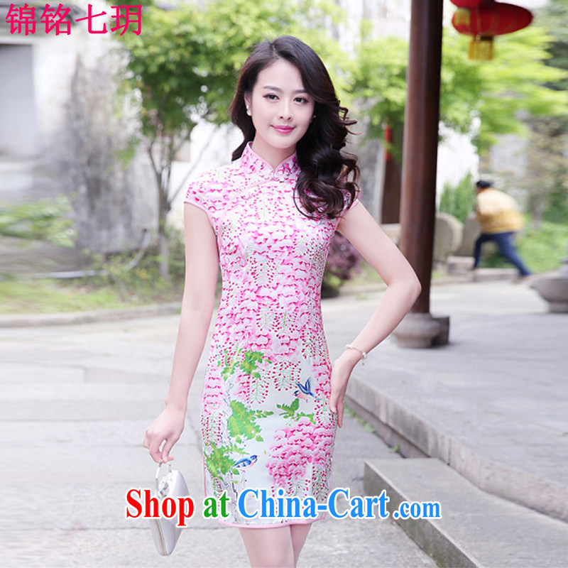 Kam Ming Yin Yue 7 summer 2015 new minimalist sepia ink stamp beauty graphics thin cheongsam dress of saffron XL
