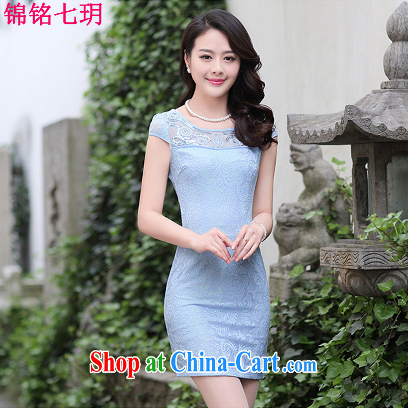 Kam Ming Yin Yue 7 summer 2015 new minimalist retro beauty graphics thin solid-colored lace cheongsam dress blue XL