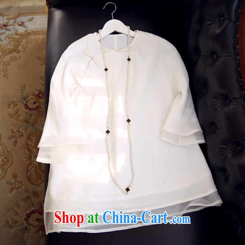 Pre-sale 2015 summer pure white literary replica ancient Shanghai National Culture Quality Improvement Chinese T-shirt girls summer China wind jacket J 50,528 white pre-sale June 12 shipping L