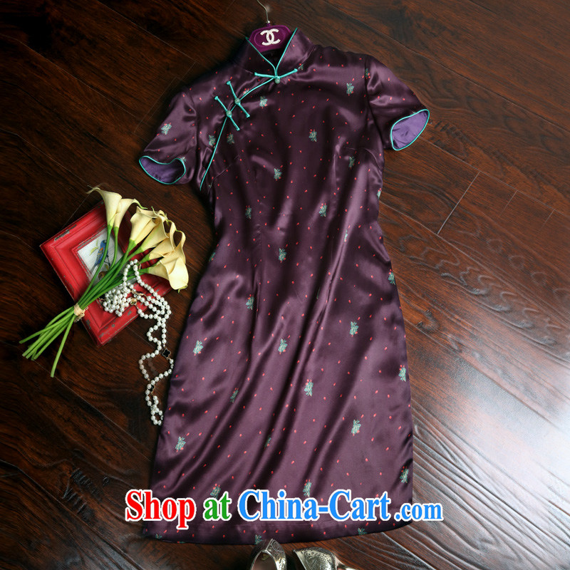 Pre-sale 2015 summer, Old Shanghai, for antique Chinese style qipao single female Summer of 22 M silk stamp of the wrinkled cheongsam dress J 50,604 purple book 20 days L