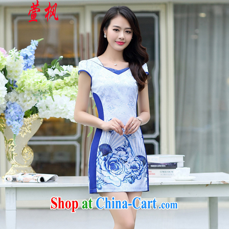 XUAN FENG 2015 summer new Korean version cultivating short-sleeved style collar Peony stamp fold to stylish women improved cheongsam dress blue XXXL