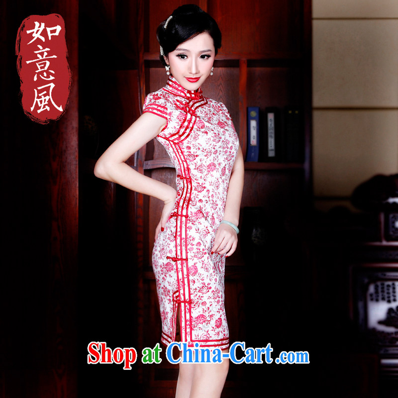Unwind after the 2015 spring and summer new cheongsam dress retro fashion improved cultivation cheongsam dress 5237 new 5237 red XXL