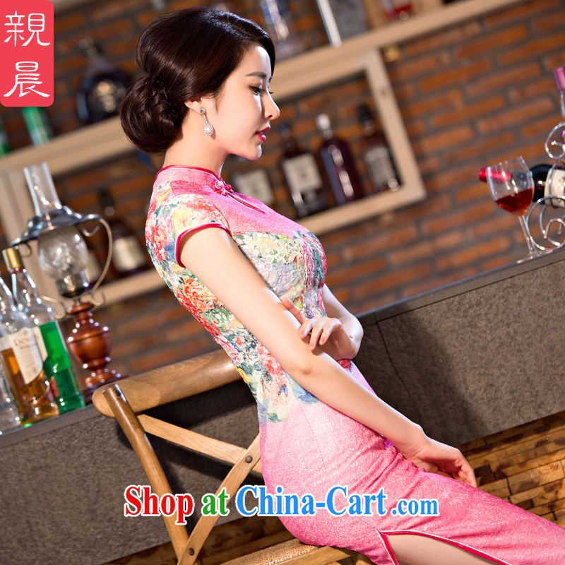 pro-am 2015 new improved stylish everyday dresses skirts, summer long, short-sleeved retro cheongsam dress pink 2 XL