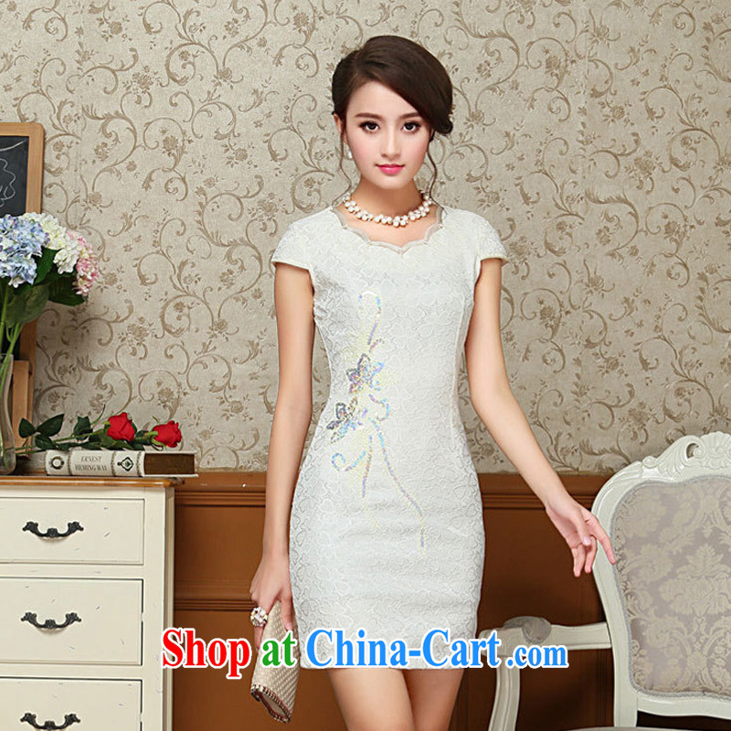 Yet the 2015 women dresses spring and summer with improved stylish short retro lace cheongsam dress everyday dress cheongsam dress further skirt m yellow XXL