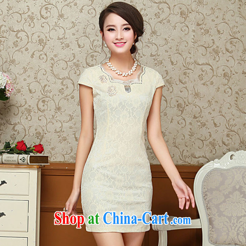Yet the 2015 ladies' dresses summer improved stylish short retro lace cheongsam dresses daily dress cheongsam dress further than light yellow XXL