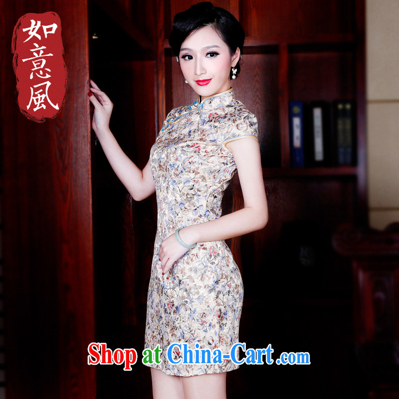 Wind turbine sporting cheongsam dress 2015 new spring and summer improved Beauty Fashion cheongsam dress summer short 5236 5236 fancy XXL