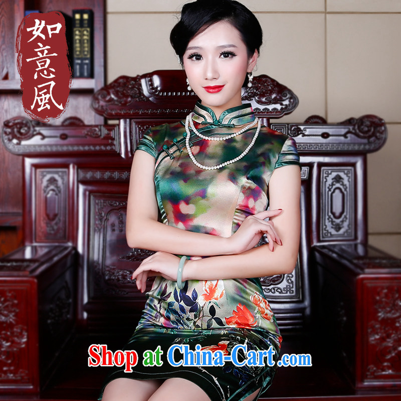 ruyi, 2015 new dresses summer retro dresses daily improved Silk Cheongsam dress 5246 new 5246 green XXL