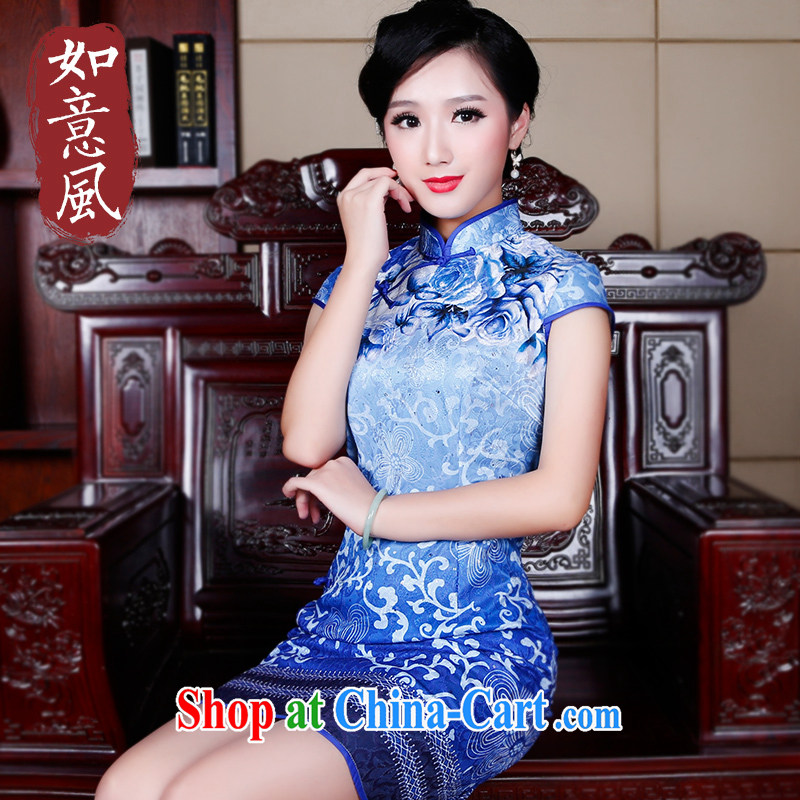 Wind Sporting Goods dresses are short and Stylish retro improved 2015 new cheongsam dress 5252 new 5252 blue XXL