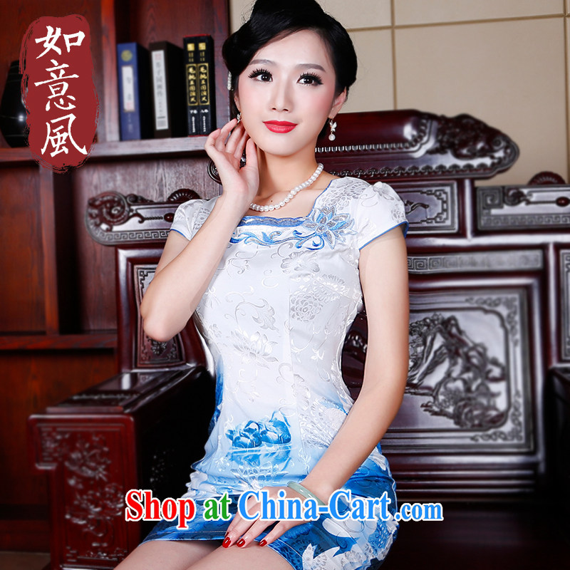Unwind after the 2015 summer women's clothing New Beauty video thin stylish improved dresses women dresses 5407 new 5407 blue XXL