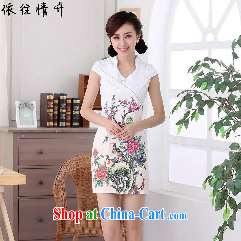 In accordance with the conditions in summer and stylish new ladies retro improved jacquard cultivating short Chinese qipao dress LGD/D #0316 figure 2 XL