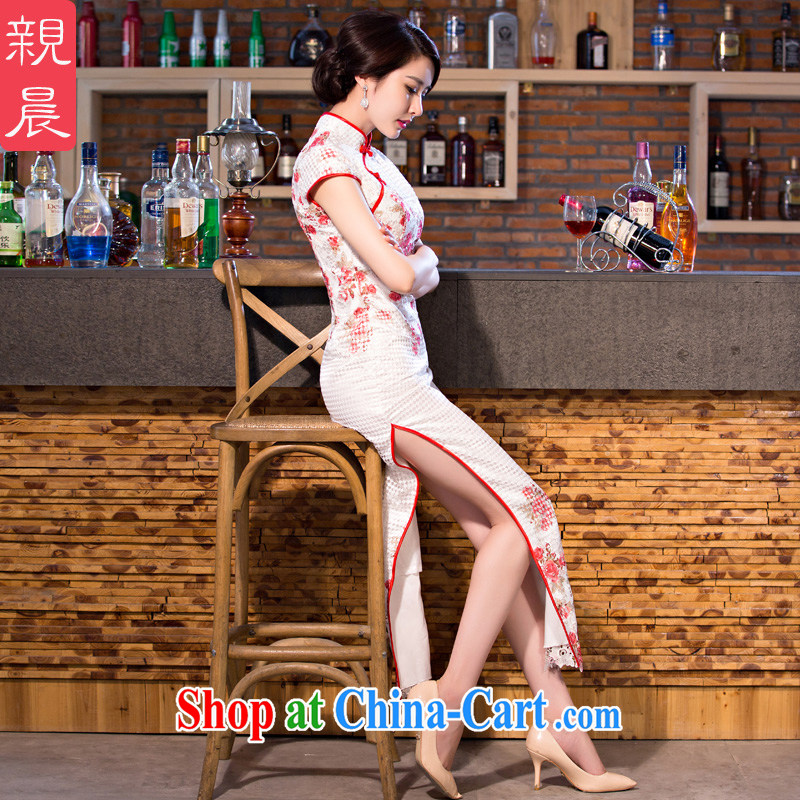 pro-am 2015 new daily improved stylish lace cheongsam dress, summer long, short-sleeved qipao dresses long 2XL