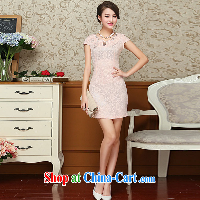 Nest, summer 2015 new women who decorated graphics thin short-sleeved package and lace cheongsam further dresses pink XXL