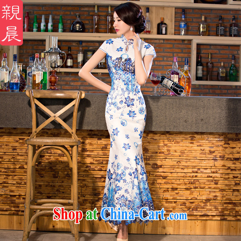 pro-am New 2015 improved stylish lace cheongsam dress daily summer, long, short-sleeved qipao dresses long 2XL