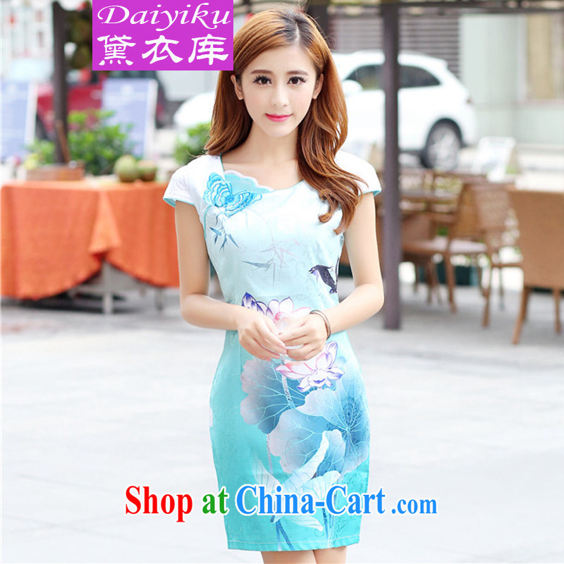 Diane Yi Library 2015 new dresses stylish Lotus the gradient improved fashion cheongsam dress stylish beauty color blue XXL