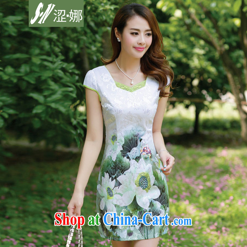 Shibuya-kei, 2015 new summer women cheongsam dress short-sleeved beauty stamp National wind package and emerald green 3 XL