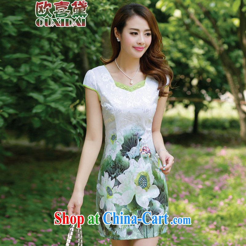 The HI Diane 2015 new summer women cheongsam dress short-sleeved beauty stamp National wind package and emerald green 3 XL