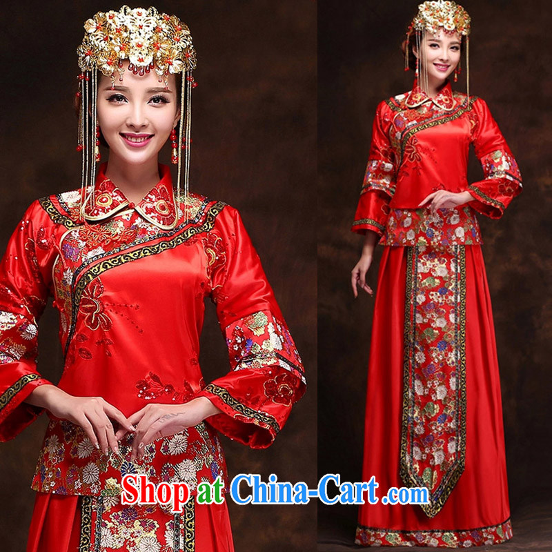 married love show reel summer clothing, bridal dresses costumes bride married Yi Chinese wedding long bridal toast clothing wedding dress red S