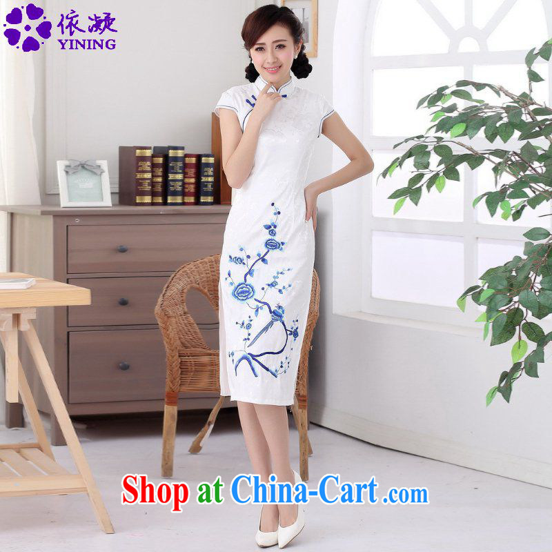 According to fuser summer stylish new clothes, for a tight retro-detained in beauty, short-sleeve Chinese cheongsam dress LGD/C #0011 white 2XL