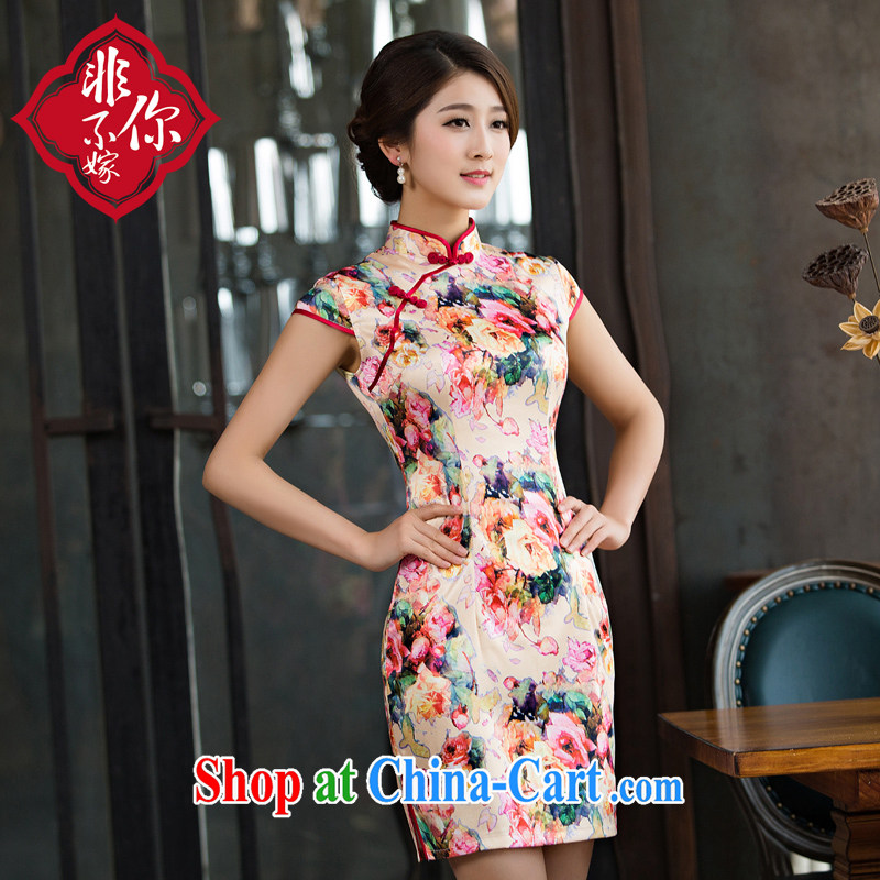 Non-you are not married cheongsam dress 2015 new improved retro-day cheongsam dress sleeveless long summer stamp picture color 2 XL