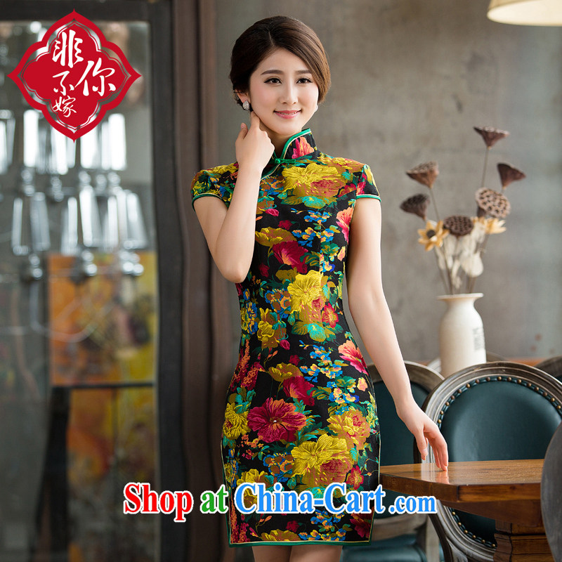 Non-you don't marry everyday robes cotton Ma sexy cheongsam dress retro stretch dresses larger female dresses cheongsam picture color 2 XL