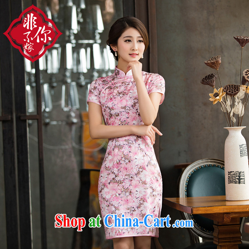Non-you don't marry dresses 2015 new summer daily short retro dresses beauty stamp cheongsam stylish women picture color 2 XL