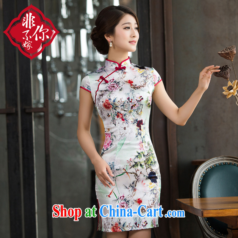 Non-you don't marry everyday dress sauna silk Silk Cheongsam summer short cheongsam suit Female picture color 2 XL