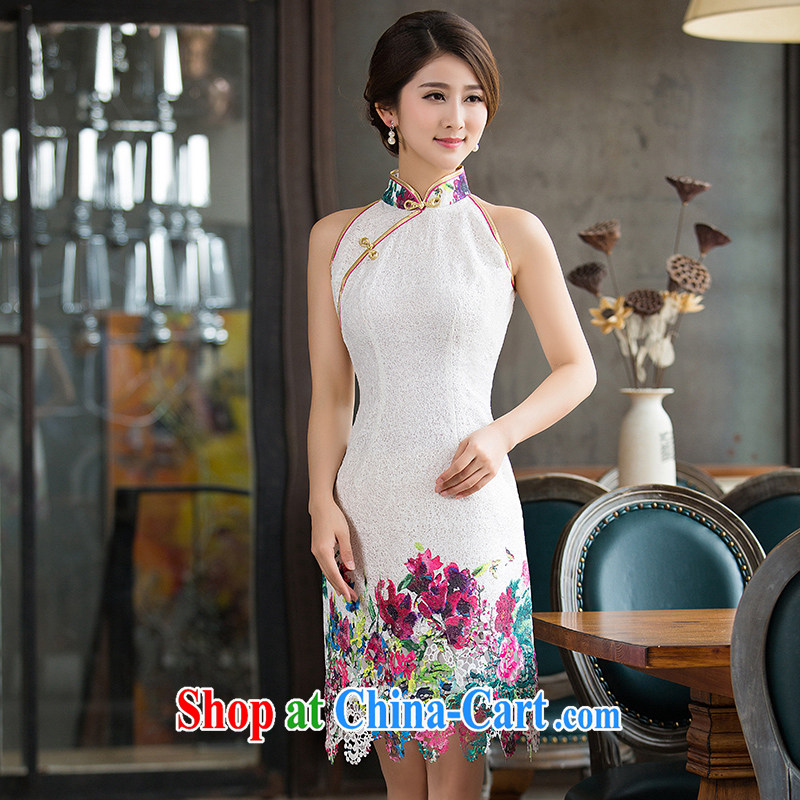 Non-you don't marry 2015 summer new improved Stylish retro short cheongsam dress lace daily dresses picture color 2 XL