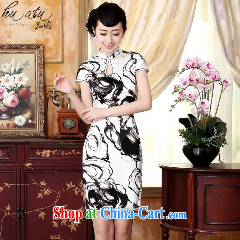 Take the silk retro classic water droplets, dos Santos for silk painting painting stretch Satin beauty double short cheongsam dress water color 2 XL
