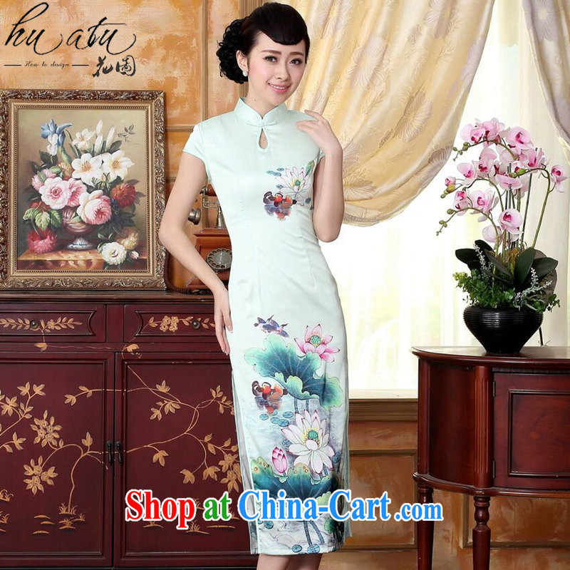 Take the female new summer Chinese improved blue lotus water droplets I should be grateful if you short-sleeved in cultivating long double cheongsam dress Cheong Wa Dae Yeon 2XL