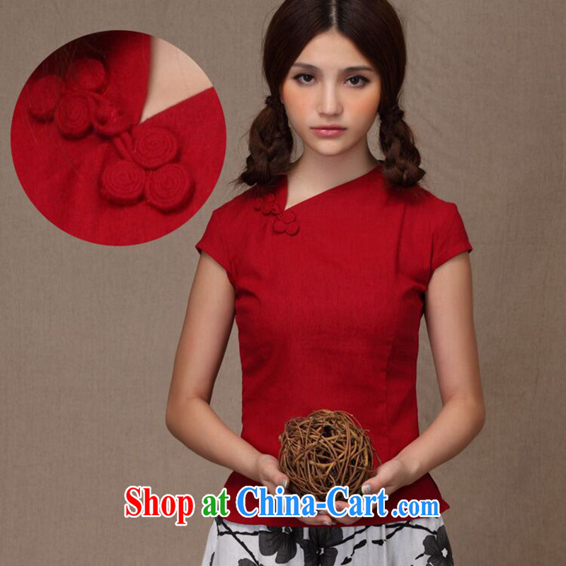 spend the summer Women's clothes Chinese China wind improved linen manual tray snap Dragon Crescent collar small open's Chinese T-shirt Red Crescent for 2 XL