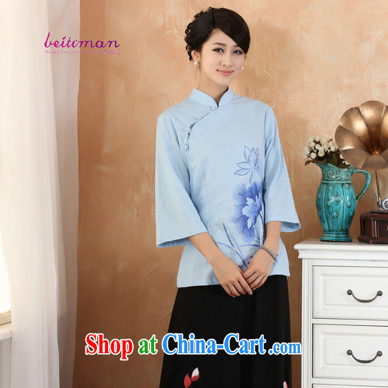 Mrs Ingrid sprawl economy summer new, original female cotton Ma short-sleeved improved cheongsam Chinese T-shirt blue XXXL