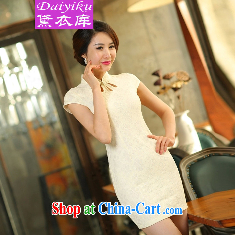 Diane Yi Library 2015 spring and summer new lace cheongsam dress daily short video thin beauty dresses apricot S