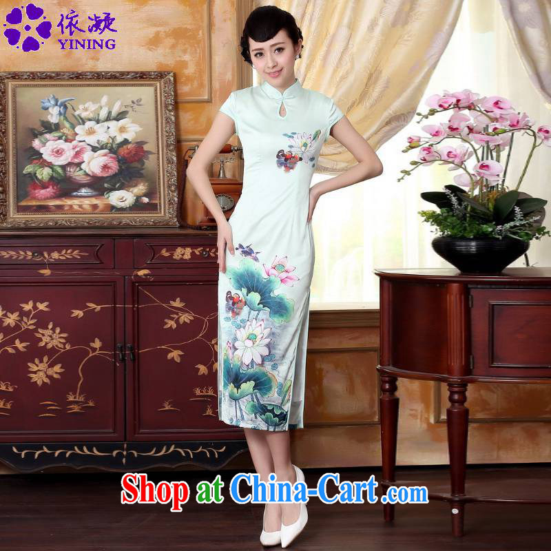 According to fuser summer stylish new ladies retro improved Chinese Tang replacing the collar Lotus cultivating short-sleeve Chinese cheongsam dress LGD_C 0012 _ -A lake green 2 XL